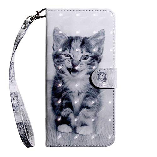LG Q6 Case CUSKING Magnetic Wallet Case for LG Q6 [Card Slot] [Hand Strap] [Flip Case] [Easy to Clean] Full Body Proective Case - Cat