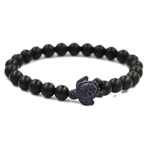 Mainbead Black Agate Bracelet Energy Bracelets Gemstone with Turtle Beads Bracelet (Black) Agate Turtle