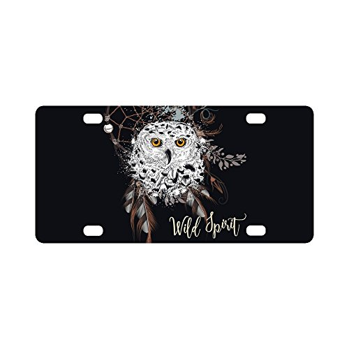 (InterestPrint Boho Bohemian Dreamcatcher and Owl, Dream Catcher Wild Spirit Automotive Metal License Plates Decor Decoration, Car Tag for Woman Man - 12 x 6 Inch)