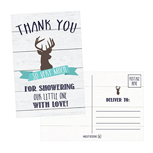 50 4x6 Rustic Deer Baby Shower Thank You Postcards Woodland Animals Bulk, Modern Cute Boho Blank Thanks Note Card For Girl or Boy Stationery Appreciation Set (Baby Boy Postage)