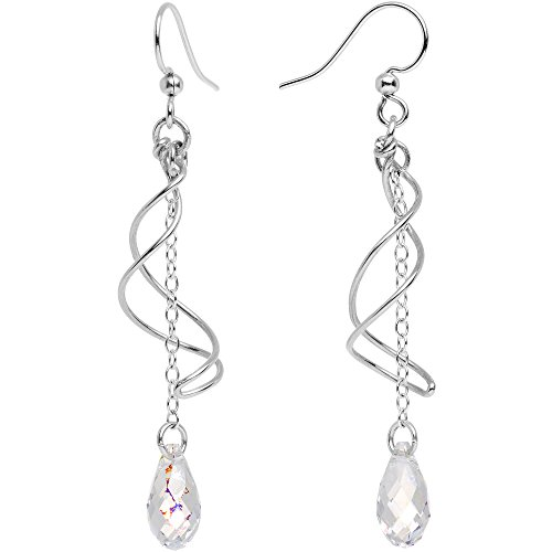 (Body Candy Handcrafted 925 Silver Clear Teardrop Swirl Earrings Created with Swarovski Crystals)