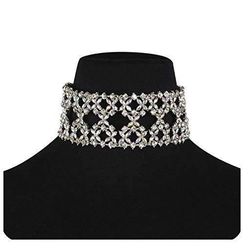 Holylove Crystal Chunky Choker Wide Chain Bib Collar Statement Necklace-HLN47 Crystal by Holylove (Image #6)
