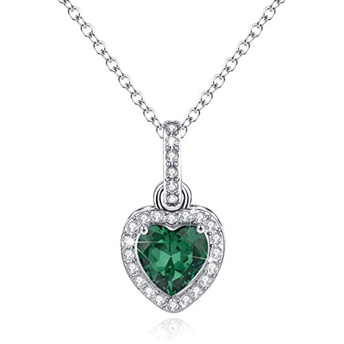 Love Heart Necklace Pendant Simulated Emerald Birthstone May Valentine's Day Gifts For Wife Girlfriend Birthday Gifts Jewelry Gifts for Women Girls Anniversary Gifts for Her Romantic Gifts For Her (Emerald Heart Shaped Pendant)