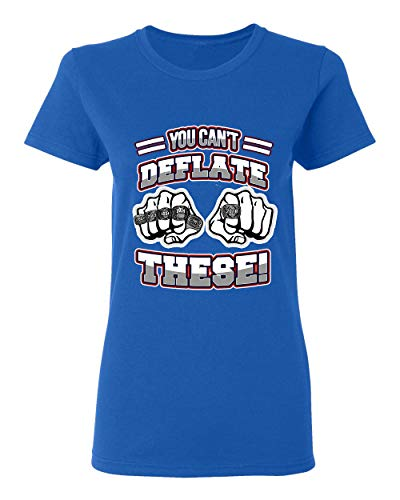 Ladies You Can't Deflate These Champion New England Football DT T-Shirt Tee (Medium, Royal Blue)