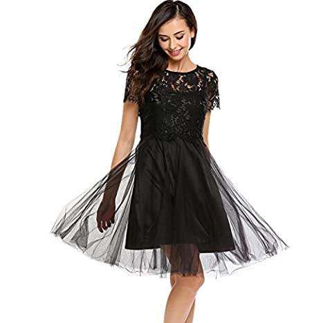 Bifast Girls Tulle Lace Applique Junior's Formal Cocktail Homecoming Dresses Plus Size - Hot Sexy Black Formal Dress