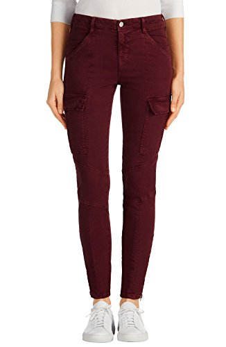 J Brand Women's Houlihan Mid-Rise Skinny Cargo Pants (26, Distressed Ox Blood) by J Brand Jeans