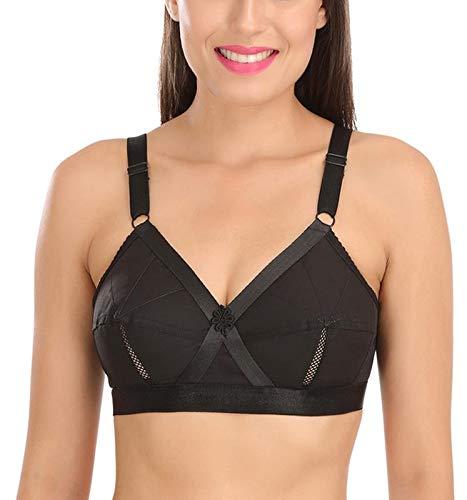 9ff35e770d Sona Women s Perfecto Full Coverage Non-Padded Plus Size Cotton Bra Black  Size 30B