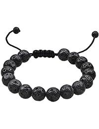 Lava Stone Bracelet Stretch Beads Black Healing Energy...