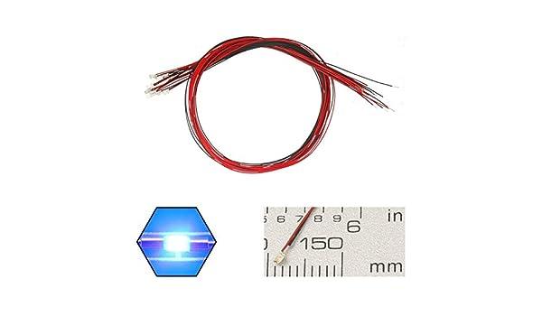 20 cm Mini LED soldados para decoraci/ón de juguetes 20 piezas precableadas 0402 verde SMD LED diodo electroluminiscente CC 3V Micro Litz longitud 7,8in modelo manual bricolaje
