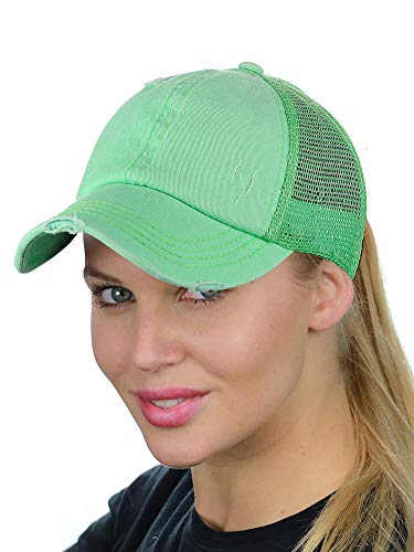 (C.C Ponycap Messy High Bun Ponytail Adjustable Mesh Trucker Baseball Cap Hat, Distressed Mint)