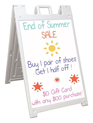 Displays2go Signicade Sandwich Board with Two 24 x 36 Write-On Boards, Works with Wet Erase Markers, Double Sided, White (BSW36PMAWT) by Displays2go
