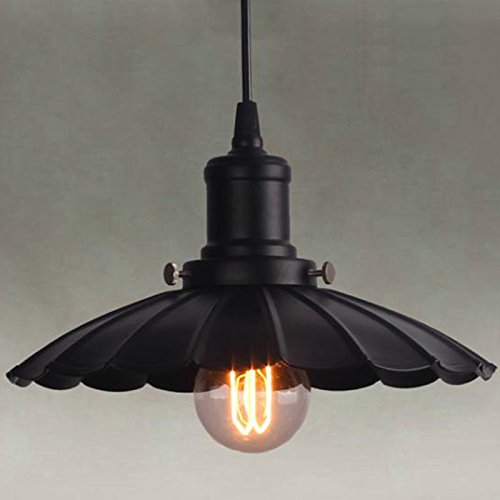 LITFAD 9.45 Wide Down Lighting Pendant with Floral Shade Black Chandelier Ceiling Light Black 1 Light Pendant Light
