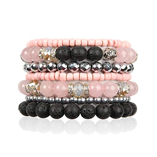 Bohemian Lava Stone Essential Oil Diffuser Multi Strand Layer Bracelet - Healing Aroma Therapy Beaded Natural Volcano Rock Stretch Bangles Lotus, Hematite ([L-XL] Layer Mix - Rose Quartz)