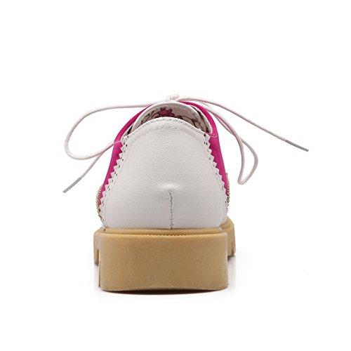 AllhqFashion Mujer Material Suave Puntera Redonda Puntera Cerrada Mini Tacón Cordones Sólido De salón Rosa