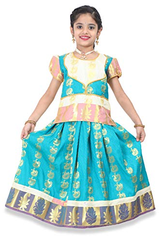 - kaatru Thana Silk Girls Pavadai Set D7 - Lehenga Choli (1-2 Y, Rexona)