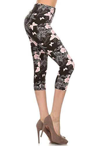 R560-CA-3X5X Pink Butterflies Capri Print Leggings