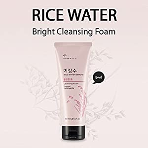 [The Face Shop] Rice Water Bright Cleansing Foam with Oil Blotting Paper - Best Korean Face Cleanser Wash for Sensitive Oily Acne Skin
