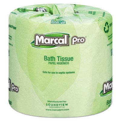 Marcal Pro Toilet Paper 100% Recycled - 2 Ply, White Bath Tissue, 242 Sheets Per Roll - 48 Individually Wrapped Rolls Per Case Green Seal Certified Toilet Paper 03001 by Marcal