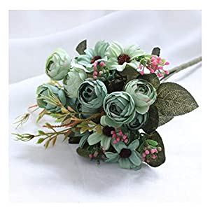 JIAHUAHUHH Single Bundle of European Artificial Flowers, Fake Flowers, Single Decorative Silk Flowers,Oil Painting, Camellia, Green,27cm 48