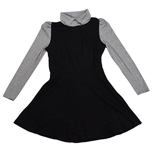 Robe - TOOGOO(R)Robe de col de Peter Pan manches longues Pull tricote slim pour femmes noir XL