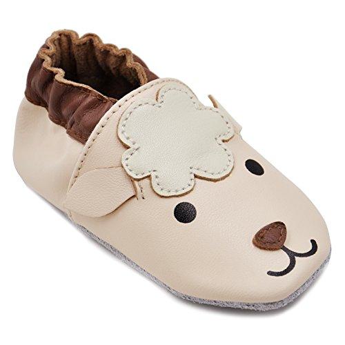 Kimi + Kai Baby Unisex Lambskin Leather Soft Sole Shoes - Lamb (6-12 Months) Beige