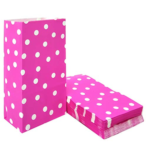 50 PCS Pink Polka Dot Paper Bags Lunch Goodie Bags for Snack Nuts Candy Cookie Treat Bags for Kids' Birthday Wedding Party Favor Bags (5.1 x 3.1 x 9.4 in Pink)]()