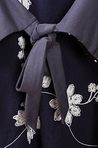 Azbro Vintage Midi Vestido Dibujo Floral Y Lunares Lazo-Cintura Navy