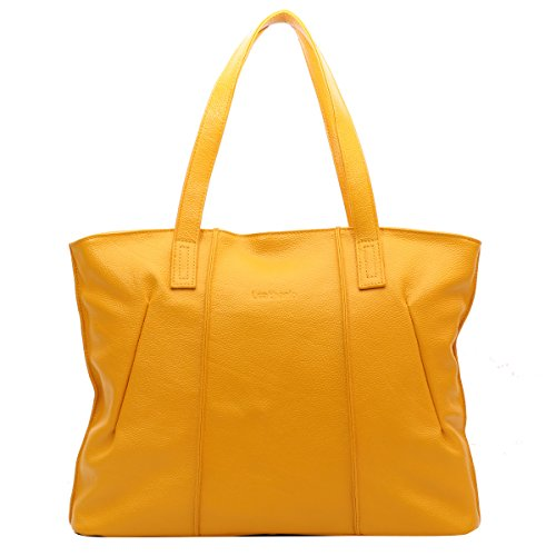 [Leathario womens soft leather tote bag handbag shoulder bag satchel for women] (Yellow Purses)