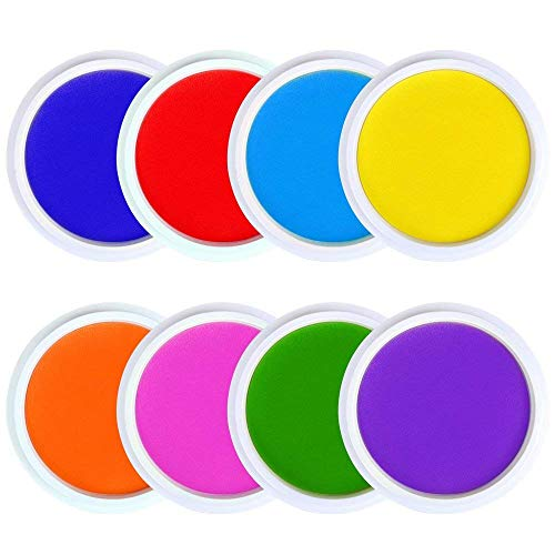 Washable Rainbow Stamp Pad - Ansley&Hosho 8 Rainbow Color Washable Craft Ink Pad for Fingerprints Birth Footprint Rubber Stamps Partner DIY for Office Usage Kids Gift