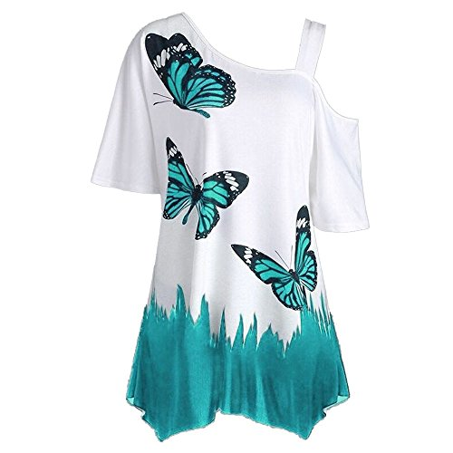 〓COOlCCI〓Women Summer Butterfly_ Printing One Shoulder Strappy Cold Shoulder T-Shirt Cold Shoulder Casual Tops Blouse (Blue A, XXL)