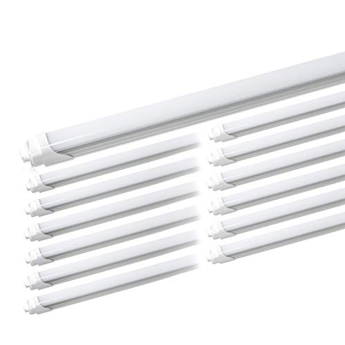 - (Pack of 12) Barrina T8 T10 T12 LED Light Tube, 8ft, R17d, HO, 44W (100W Equivalent), 6500K, 4500 Lumens, R17D Base, Frosted Cover, Dual-Ended Power, Fluorescent Light Bulbs Replacement