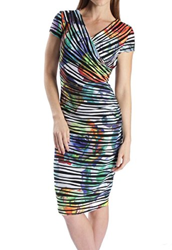 Joseph Ribkoff Black, White & Multicoloured Floral Striped Dress Style 171685 - Size 4 by Joseph Ribkoff