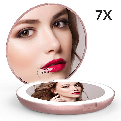 Easehold Travel Makeup Mirror LED lighted Folding 1X/7X