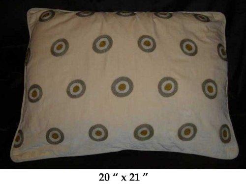 Crewel Pillow Polka Dot Green on Gold Cotton Velvet (20X26)