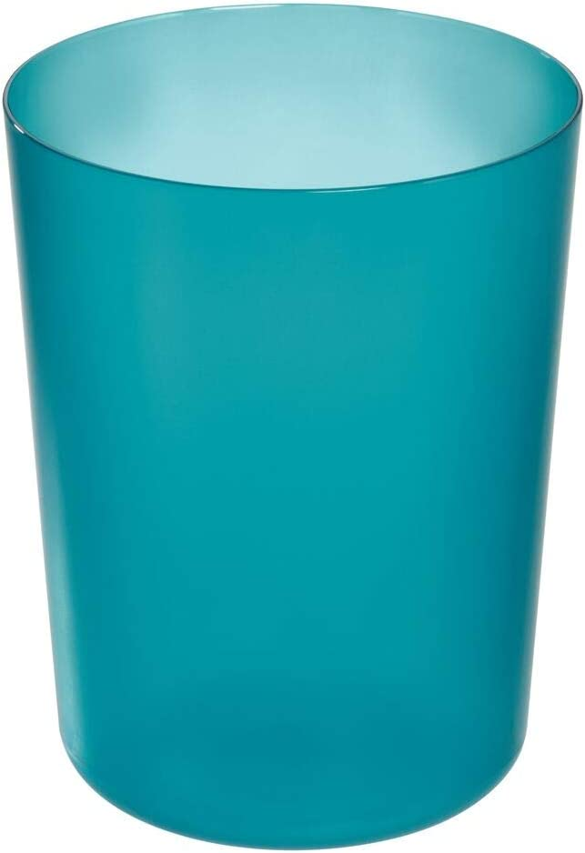 iDesign Finn Round Plastic Trash, Compact Waste Basket Garbage Can for Bathroom, Bedroom, Home Office, Dorm, College, Teal and White
