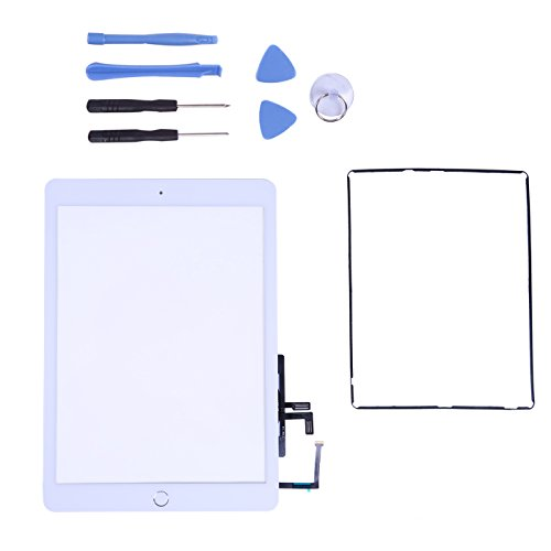 PC Hardware : Touch Screen Digitizer for 2017 iPad 9.7 - Front Glass Replacement with Home Button & Tool Repair Kit (A1822, A1823) - White