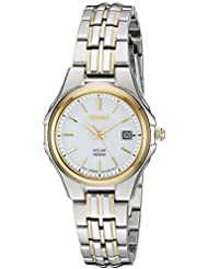 Seiko Womens SUT222 Ladies Dress Solar-Powered Two-Tone Stainless Steel Watch