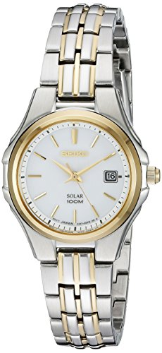 (Seiko Women's SUT222 Ladies Dress Solar-Powered Two-Tone Stainless Steel Watch)