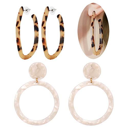 Brown Plastic Earrings - ALEXY Women's Mottled Hoop Earrings Bohemia Acrylic Resin Hoops Stud Earrings (F: 2PCS Set 4)