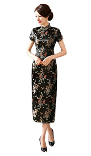 ACVIP Women's Cherry Brocade SleevelessChinese Long Side-split Qipao Dress (4, black-1)