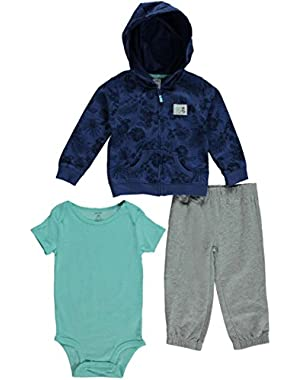 Carter's 3 Piece Cardigan Set, Blue Hawaiian, New Born