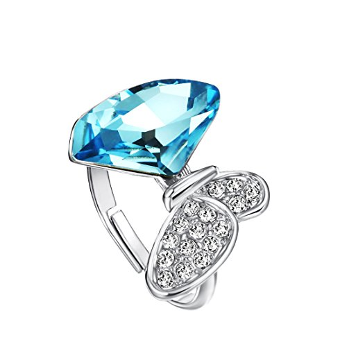 Neoglory Imitation Platinum Ocean Blue Crystal Adjust Butterfly Ring Birthday Gift For Girl embellished with Crystals from Swarovski (Ring Butterfly Embellished)