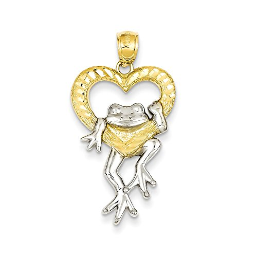 14K Yellow Gold and Rhodium Plated D/C Frog in Heart Pendant
