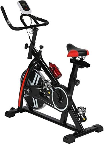 Indoor Cycling Bike Stationary, Silent Belt Drive Cardio Fitness Exercise Bike w LCD Monitor 22 lbs Magnetic Flywheel Resistance, Studio Cycle Machines for Home Cardio Gym Workout