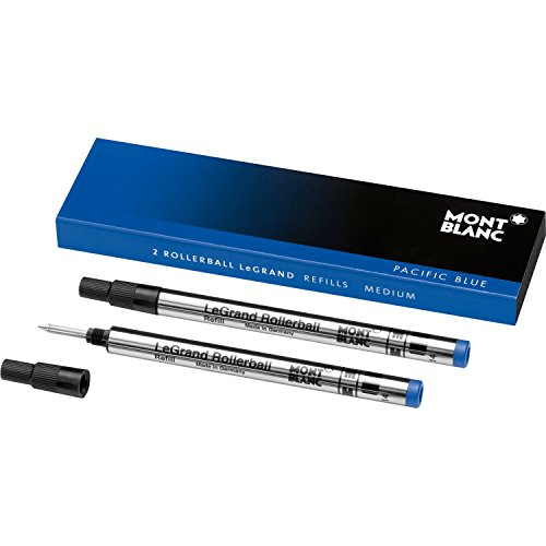 LeGrand Refills (M) Pacific Blue 105165 – Pen Refills for Meisterstück LeGrand Rollerball Pens with a Medium Tip – 2 x Blue Pen Cartridges ()