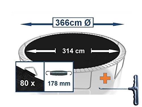 Sprungtuch Sprungmatte Ersatzteile für Trampolin Ø 366 cm 80 Ösen (Federn 17,8 cm)