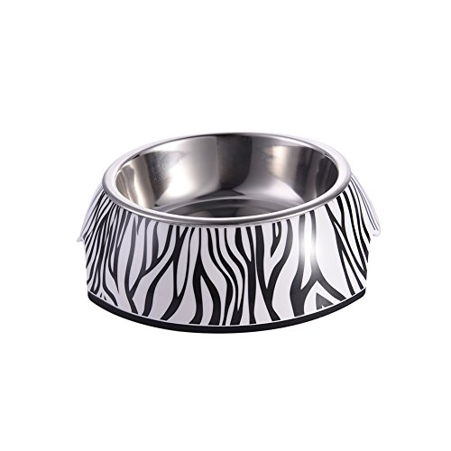 Yunt Zebra and Striped Pet Bowl with Removable Melamine Stainless Steel Bowl Pet Dog Cat Supplies S
