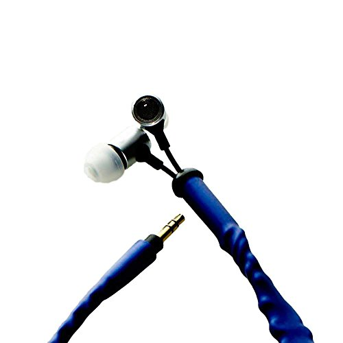 CordCruncher Tangle-Free Adjustable Bass In-Ear Headphones by Mel B, Cobalt Blue