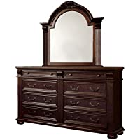 Furniture of America Archimedes English Style Dresser and Mirror Set, Brown Cherry Finish