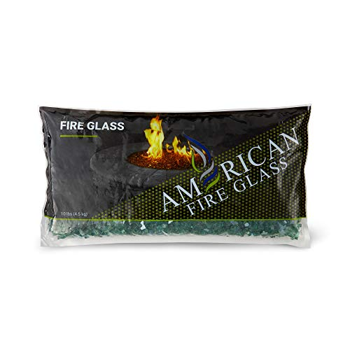 American Fireglass 10-Pound Reflective Fire Glass with Fireplace Glass and Fire Pit Glass, 1/4-Inch, - Evergreen Glass Fire